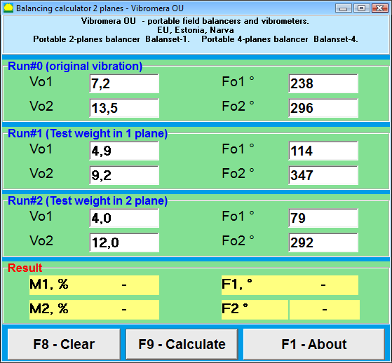 Dynamic balancing calculator. Main window-input vibration data and calculate balancing weights and angles