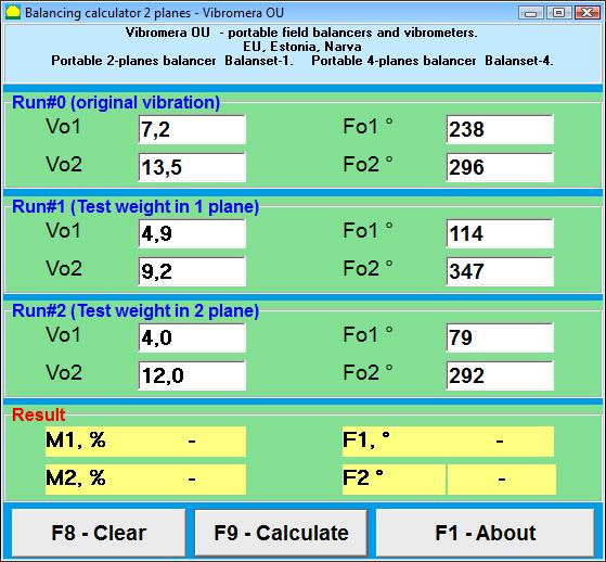 2plane rotor  balancing calculator